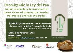 Jornada Difusión:  Desmigando la Ley del Pan en León el 02 de octubre de 2019