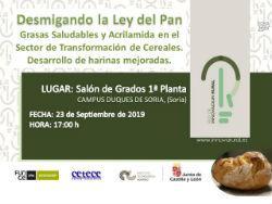 Jornada Difusión:  Desmigando la Ley del Pan en Soria el 23 de septiembre de 2019